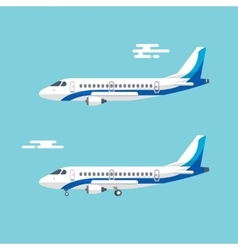 Aircraft with wide wings is flying in blue cloudy vector image