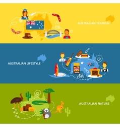Australia flat banner set vector