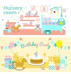 Baby Flat Banner Set vector image