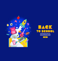 back to school sale banner poster design layout vector image