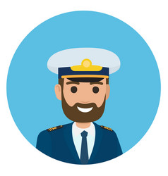 Bearded captain in uniform portrait vector