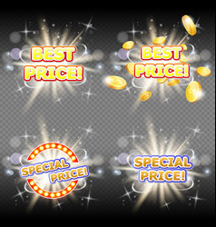 best price and special price banner set vector image