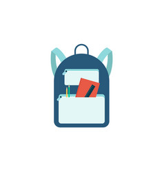blue backpack with school supplies isolated on vector image