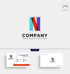 Book initial n simple gradient education logo vector