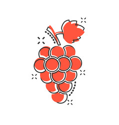 Cartoon grape fruit with leaf icon in comic style vector