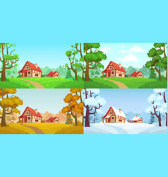 cartoon house in woods forest village four vector image
