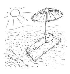 cartoon of man lying on beach under umbrella vector image