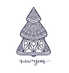 christmas tree new year line art decoration vector image