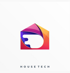 Circle technology home colorful design template vector