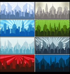 city silhouettes collection vector image