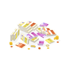 Collection isometric fiat money or european vector