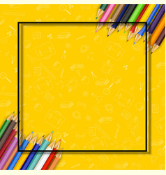 colored pencils on yellow background vector image