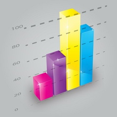 Colorful 3D bar chart vector