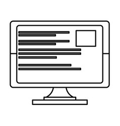 Computer screen technology in black and white vector