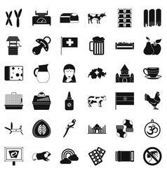 Cow icons set simple style vector
