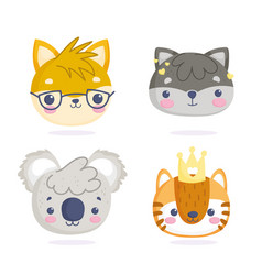 cute animals little cartoon characters faces cat vector image