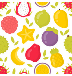 cute exotic fruits seamless pattern on vector image