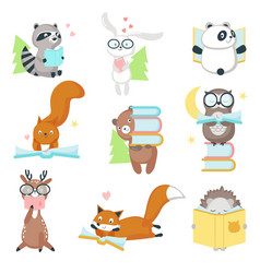 Cute wild animals reading books icon set vector