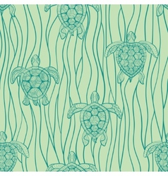 Decorative turtles in sea vector
