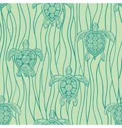 Decorative turtles in sea vector