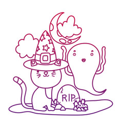 Degraded outline cat with hat and funny ghost with vector