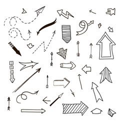 different arrows hand drawn set vector image