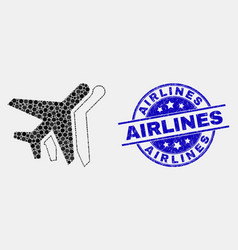Dotted airplanes icon and grunge airlines vector