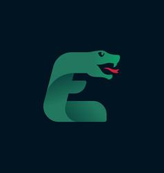 E letter logo with snake head silhouette vector
