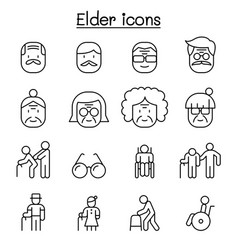 elder icon set in thin line style vector image