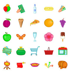 evening revelry icons set cartoon style vector image