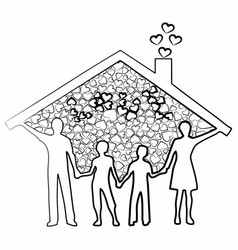 family artistic silhouette vector image