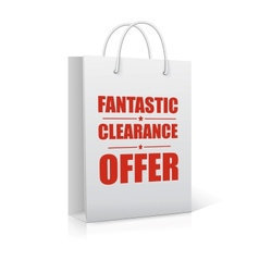 Fantastic clearance offer shopping bag vector image