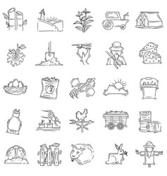 farming icon set hand drawn icon outline black vector image