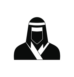 Female ninja in mask black simple icon vector