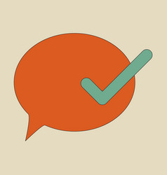 Flat check message icon vector