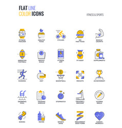 Flat line multicolor icons design-fitness and vector