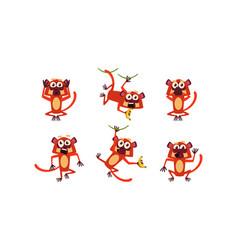 flat set of brown lemur with various vector image