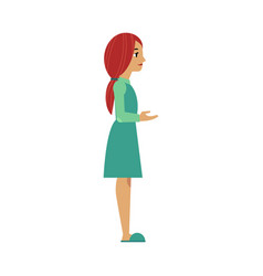 Flat woman in dress reaching out hand vector