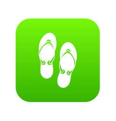 flip flop sandals icon digital green vector image