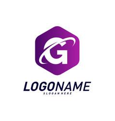 Font with planet logo design concepts letter g vector