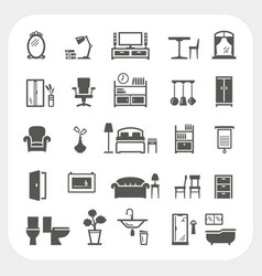 furniture icons set home interior objects vector image