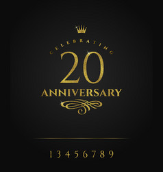 Glitter gold anniversary golden logo with crown vector