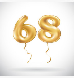 Golden number 68 sixty eight metallic balloon vector