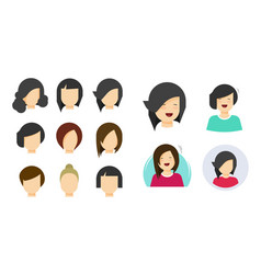 Hairstyle woman face icon flat cartoon vector