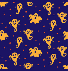 halloween seamless pattern with ghosts doodles vector image
