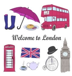 hand drawn London set vector image