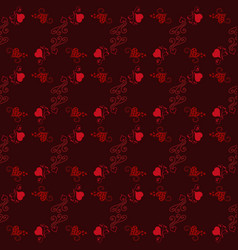 happy valentines day seamless pattern black vector image