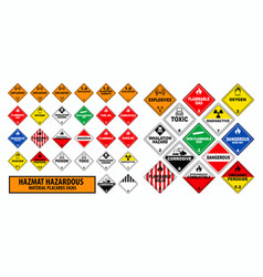 Hazmat hazardous material placards sign concept vector