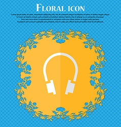 headsets Floral flat design on a blue abstract vector image