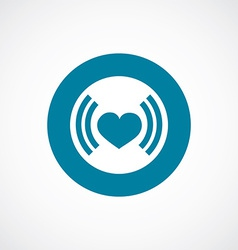 Heart beat icon bold blue circle border vector